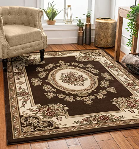 Well Woven Timeless Le Petit Palais Traditional Medallion Brown Area Rug 7 10 x 10 6