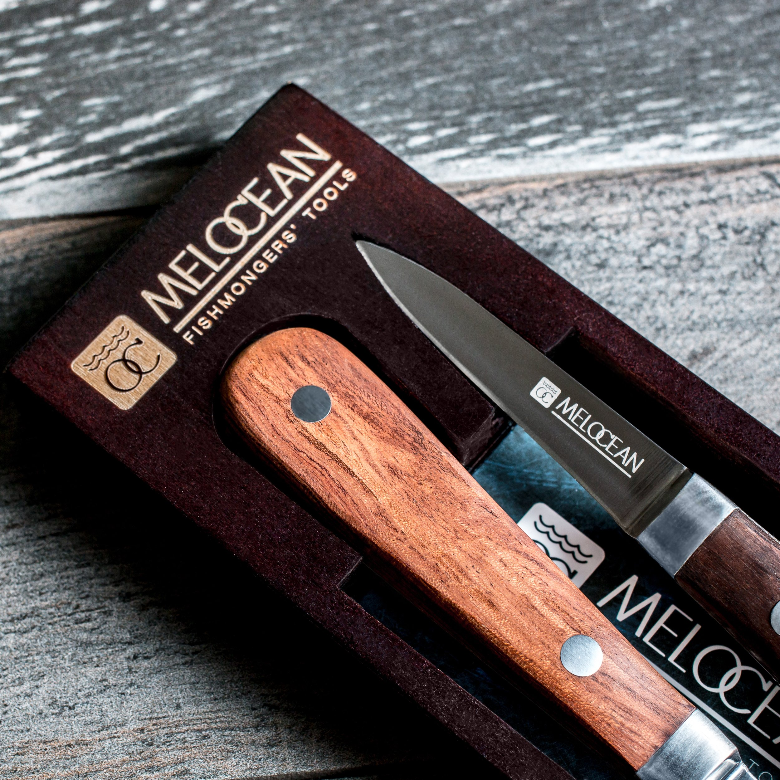 Oyster Shucking Knife Set of 2 - Professional Oyster Knife Shucker Clam Opener Kit in Lovely Box - Bonus Ebook and Brochure Included by Melocean