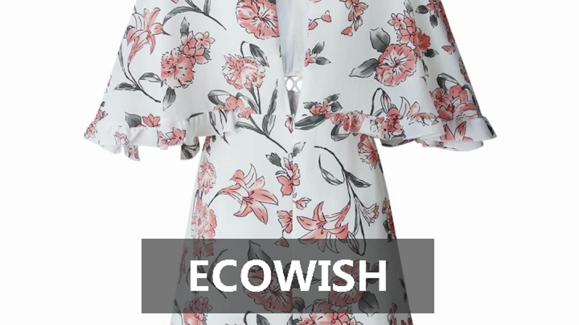 703d62e6e8d63 ECOWISH Women's Dresses Floral Print V Neck Batwing Ruffle Hem Short Sleeve  Hollow Out Boho Mini Dre