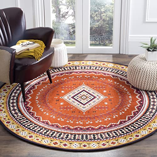 Safavieh Classic Vintage Collection CLV511D Orange and Gold Round Area Rug, 6 in Diameter
