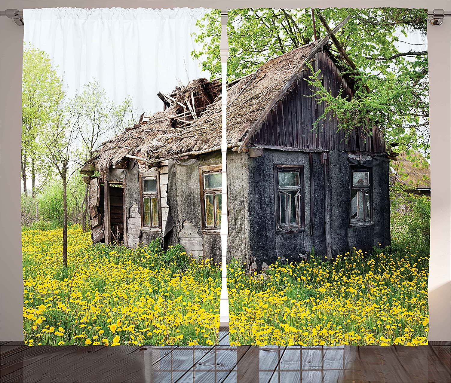 Old Barn Farmhouse Countryside Cottage House in Garden Rural Vintage Picture Ambesonne Wooden Decor Curtains 108W X 63L Inches Brown Green Living Room Bedroom Window Drapes 2 Panel Set