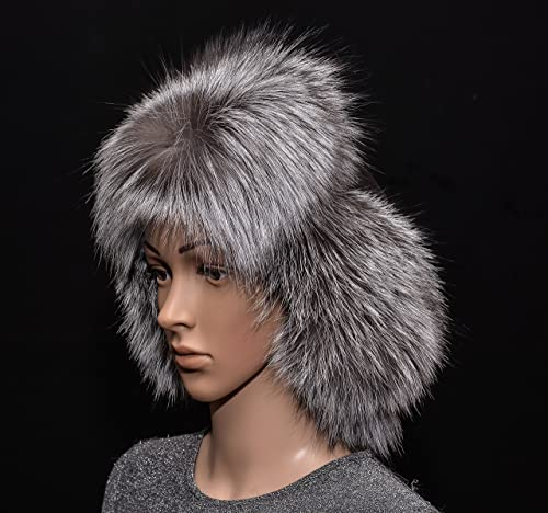 Saga Furs Silver Fox Fur /& Black Leather Handmade Men/'s Bomber Aviator Hat