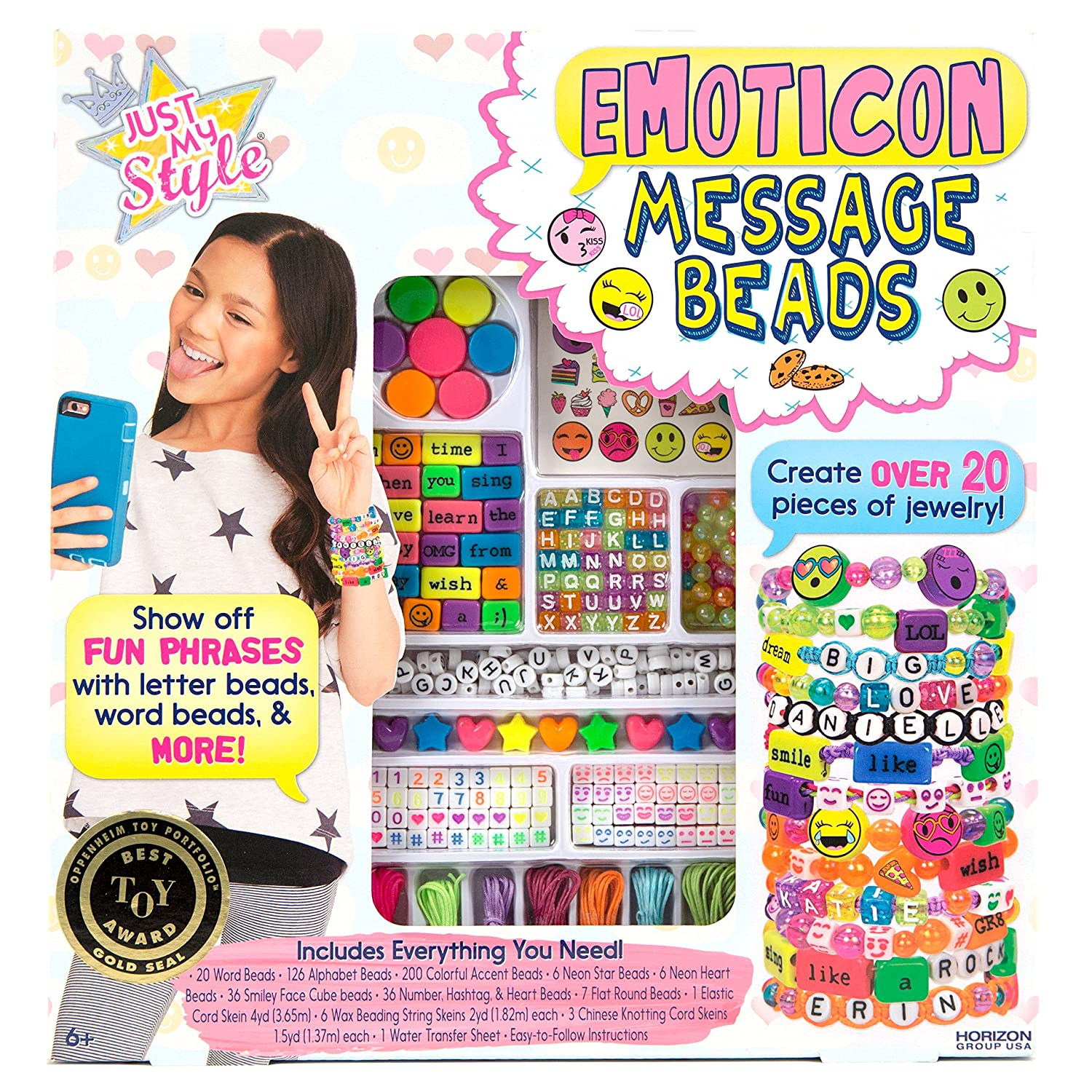 Just My Style Emoticon Message Beads by Horizon Group USA 765940654583