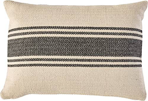 Creative Co-Op Cream Rectangle Cotton Pillow with Grey Stripes