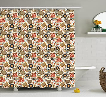 Vintage Shower Curtain By Lunarable Retro 60s 70s Radios Sets Music Bass Notes Antique Cartoon
