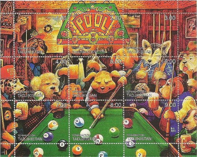 Stampbank bisagras hoja de sellos de perros jugando al billar ...