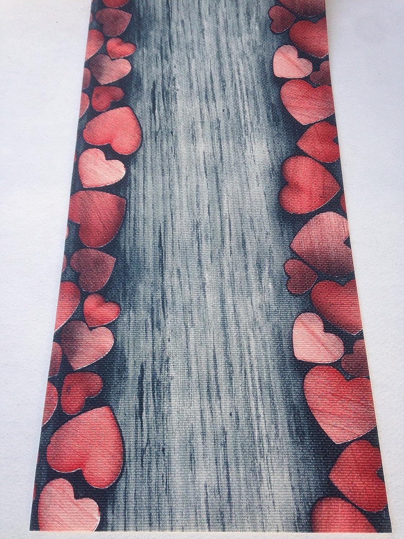 tappeto cucina 52 x 240 cuori rosso shabby chic marrone wengè ... - Tappeto Cucina Moderno
