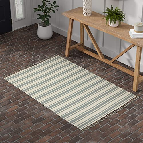 Stone Beam Los Altos Striped Dhurrie Farmhouse Area Rug, 4 x 6 6 , Blue and Ivory