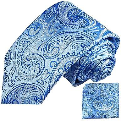 P.M. Krawatten Paul Malone Corbata de seda azul paisley + pañuelo ...