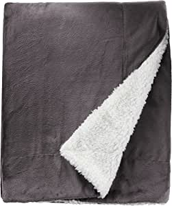 Northpoint Cashmere Velvet Reverse to Cloud Sherpa Throw, Charcoal - 73982