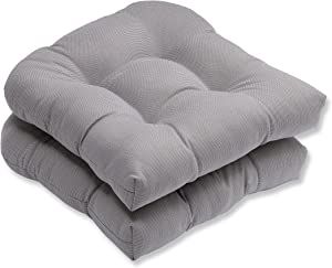 """Pillow Perfect Outdoor/Indoor Tweed Tufted Seat Cushions (Round Back), 19"""" x 19"""", Gray, 2 Pack"""