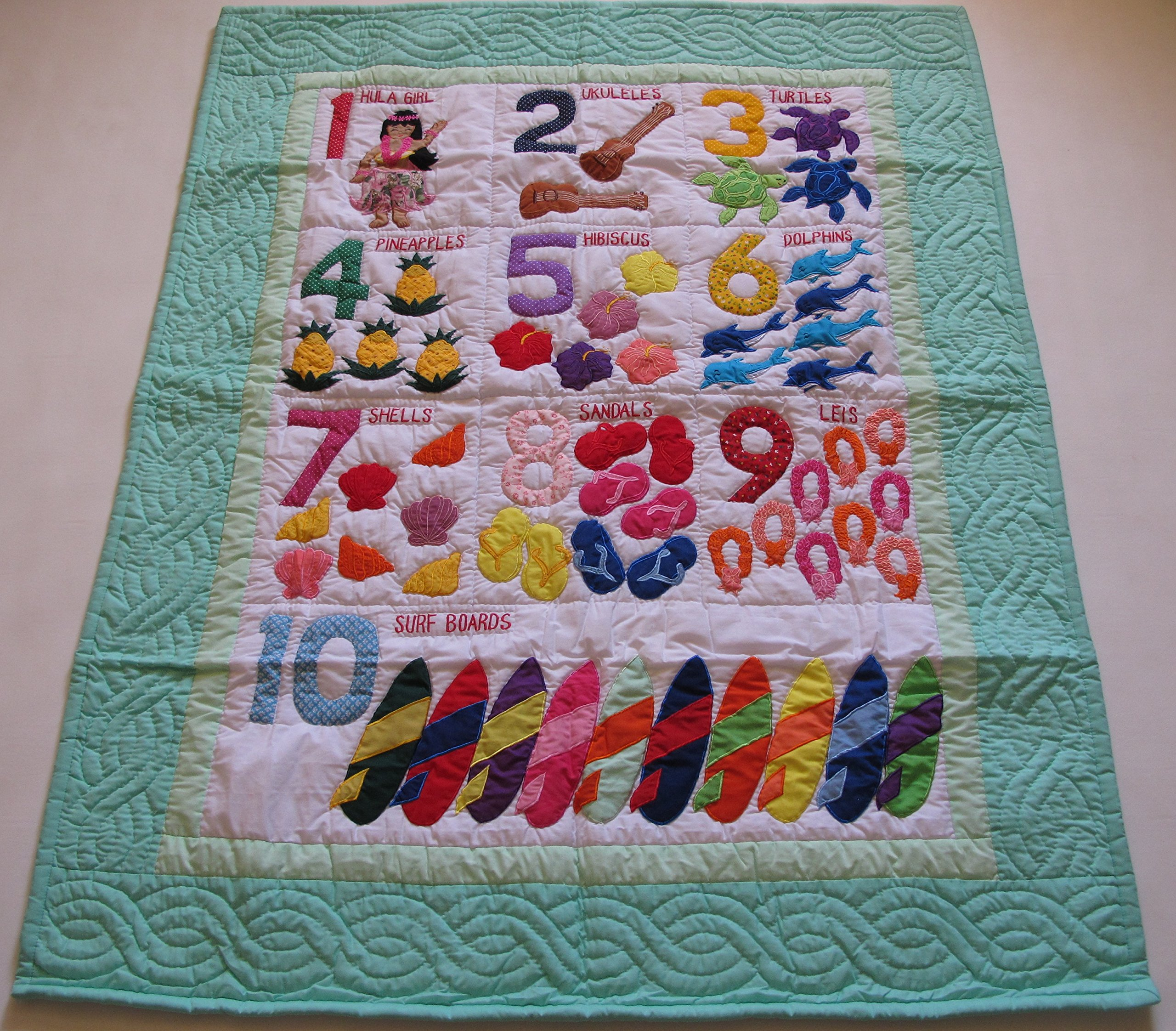 Hawaiian Style Numbers crib baby comforter blanket, wall hanging hand quilted/hand appliqued and machine embroidered