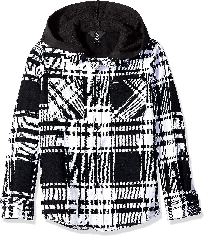 Volcom Big Boys Shader Hooded Long Sleeve Flannel Shirt: Amazon.es: Ropa y accesorios