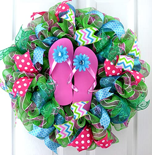 747b97d337fe6e Image Unavailable. Image not available for. Color  Summer spring beach lake  ocean flip flop deco mesh wreath