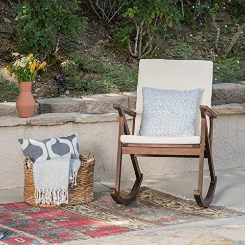 Christopher Knight Home 304342 Louise Outdoor Acacia Wood Rocking Chair, Dark Brown Cream Cushion