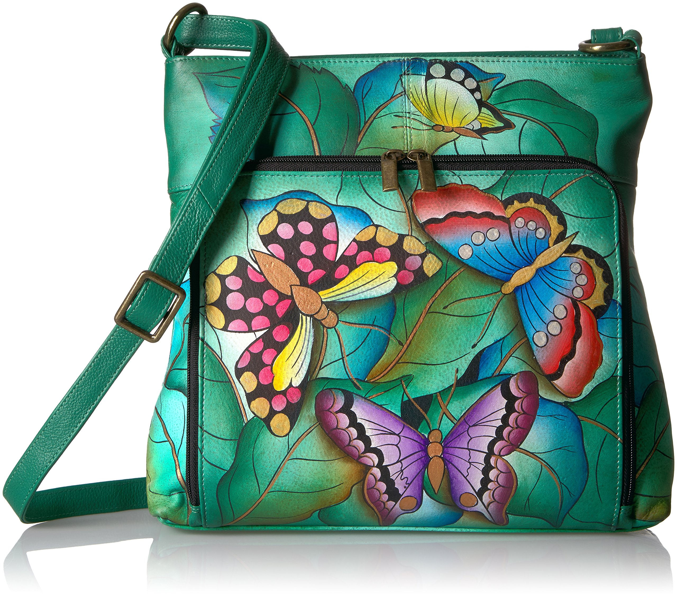 Anuschka Anna Handpainted Leather Organizer Cross Body-Summer Wings