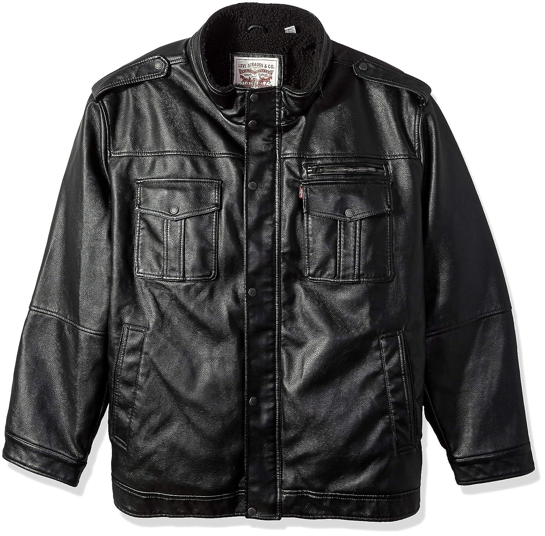 Levi's Men's Vintage Deer Faux Leather Sherpa Military Jacket Levi' s Men' s Outerwear LM7RU915
