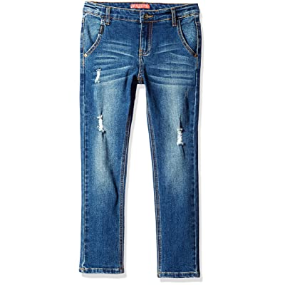 GUESS Big Boys' 5 Pocket Regular Fit Distressed Jeans