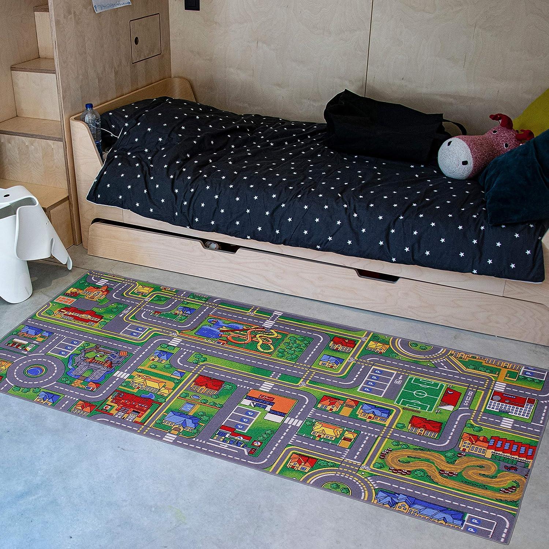 Carpet Studio Alfombra Infantil Suave al Tacto para Niño y Niña, Respaldo de látex Antideslizante, Fácil de Mantener, Sin Peligro para niños y Animales, Playcity, 95x200cm