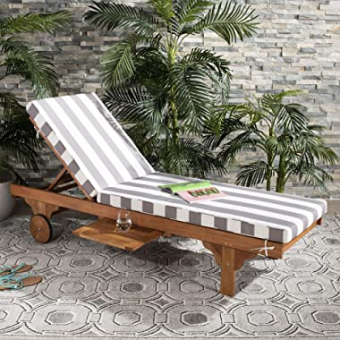 Safavieh PAT7022E Outdoor Collection Newport Teak, Grey and White Chaise Side Table Lounge Chair