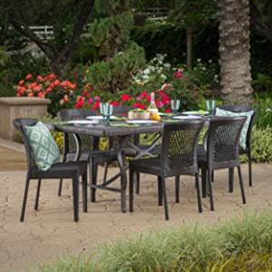 Christopher Knight Home 300551 Chatham Outdoor 7 Piece Multibrown Wicker Dining Set