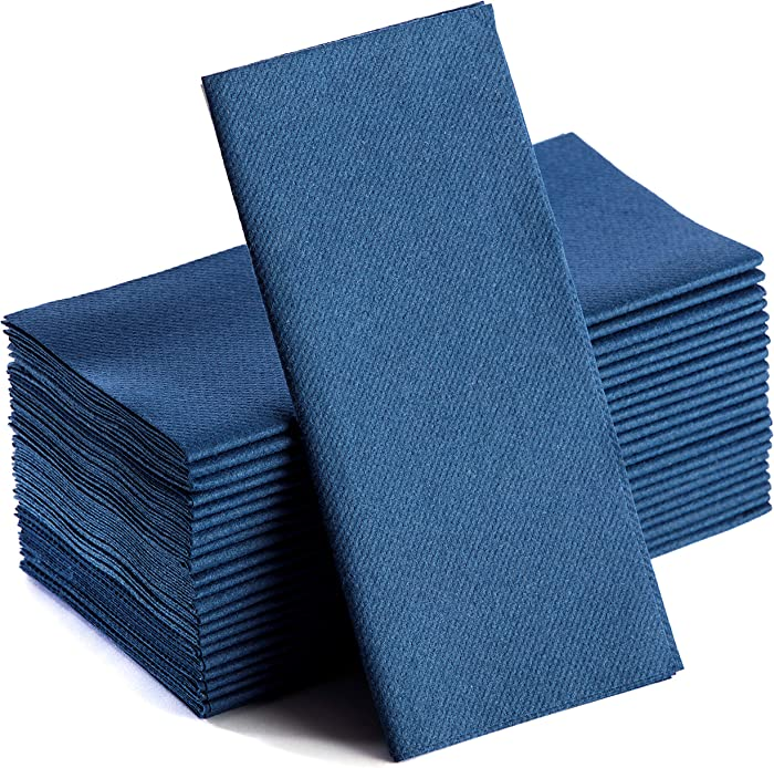 Navy Napkins | Linen Feel Disposable Cloth Like Paper Dinner Napkins | Hand Towels | Soft, Absorbent, Paper Hand Towels for Bathroom,Kitchen,Parties,Weddings or Events | 50 Pack