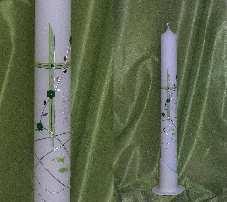 Taufkerze / Kommunionkerze in 40 x 4 cm, inklusive Beschriftung und Aufbewahrungskarton ! P 27 Silkes-Kerzenladen