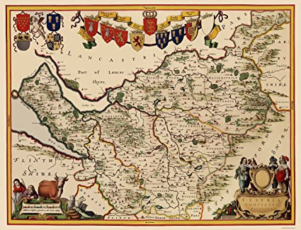 Amazon Com Old Great Britain Map Cheshire County England Blaeu