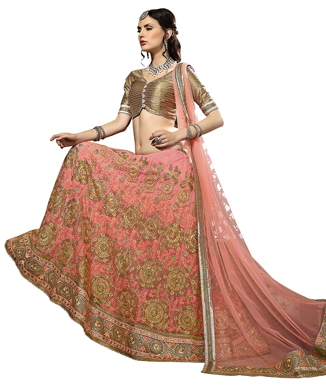 AASVA Women's Net Lehenga Choli, Free Size (Pink, NMRLA3407)