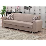 BEYAN Colorado Collection Modern Convertible Folding Sofa Bed with Storage Space, Includes 2 Pillows, Light Brown