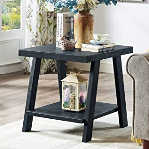 Roundhill Furniture Athens Contemporary Replicated Wood Shelf End Table in Black Finish