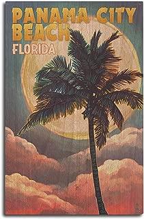 product image for Lantern Press Panama City Beach, Florida - Palm and Moon (10x15 Wood Wall Sign, Wall Decor Ready to Hang)