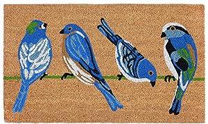 """Liora Manne Natura Summer Blue Birds Natural Outdoor Welcome Coir Door Mat, 1'6"""" x 2'6"""""""