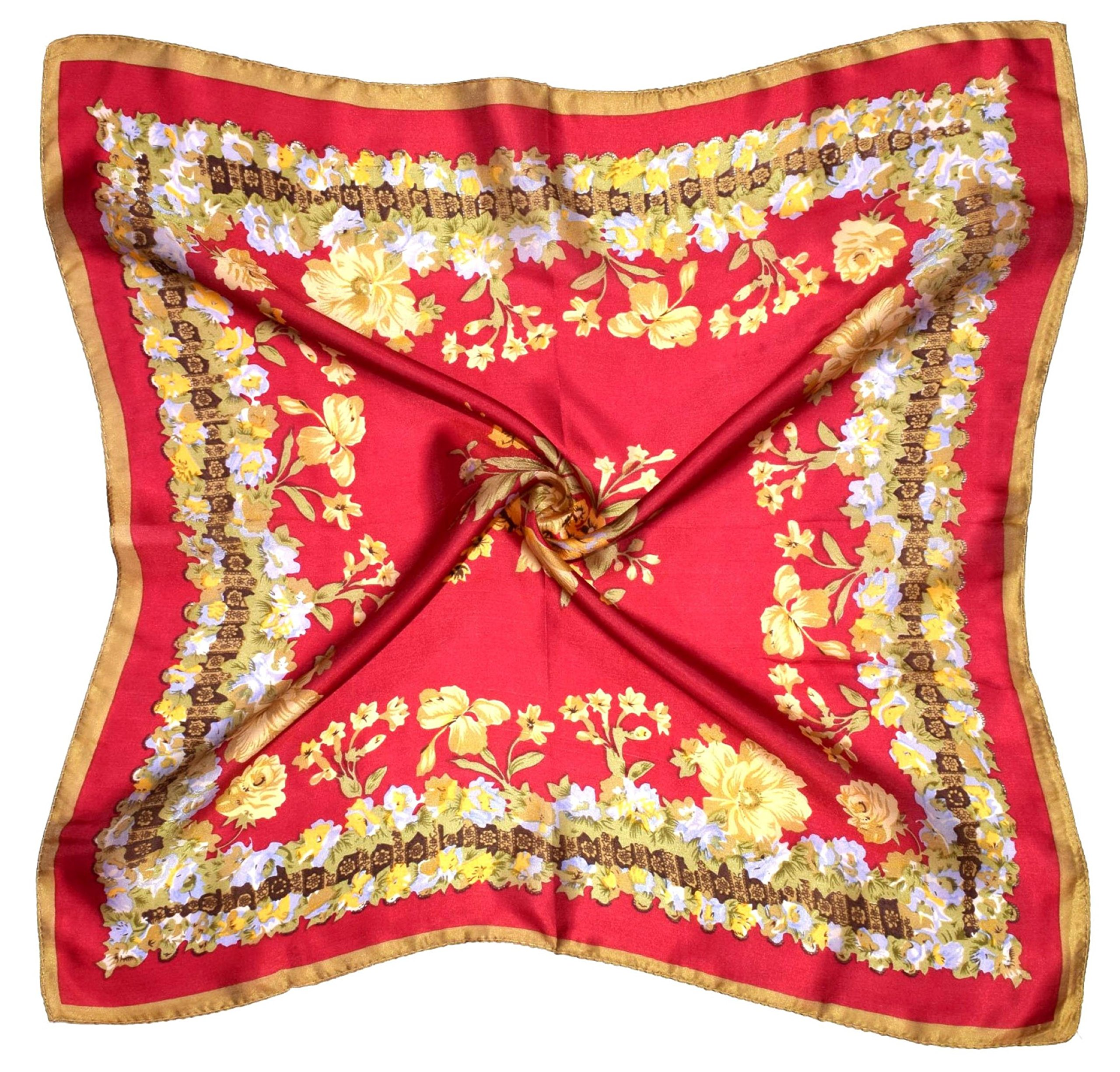 Red Yellow Flowers Printed Small Square Fine Silk Scarf