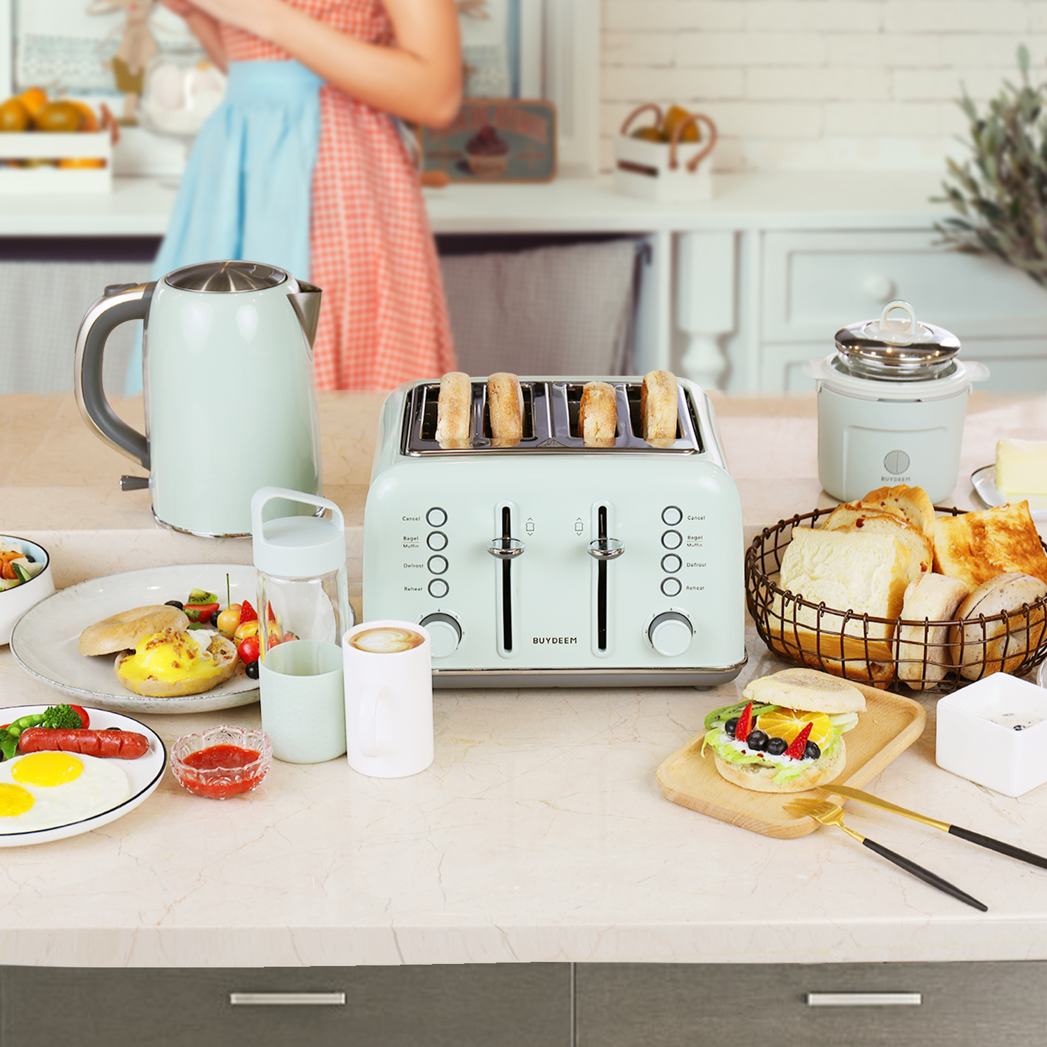 Extra-wide 4-slice toaster