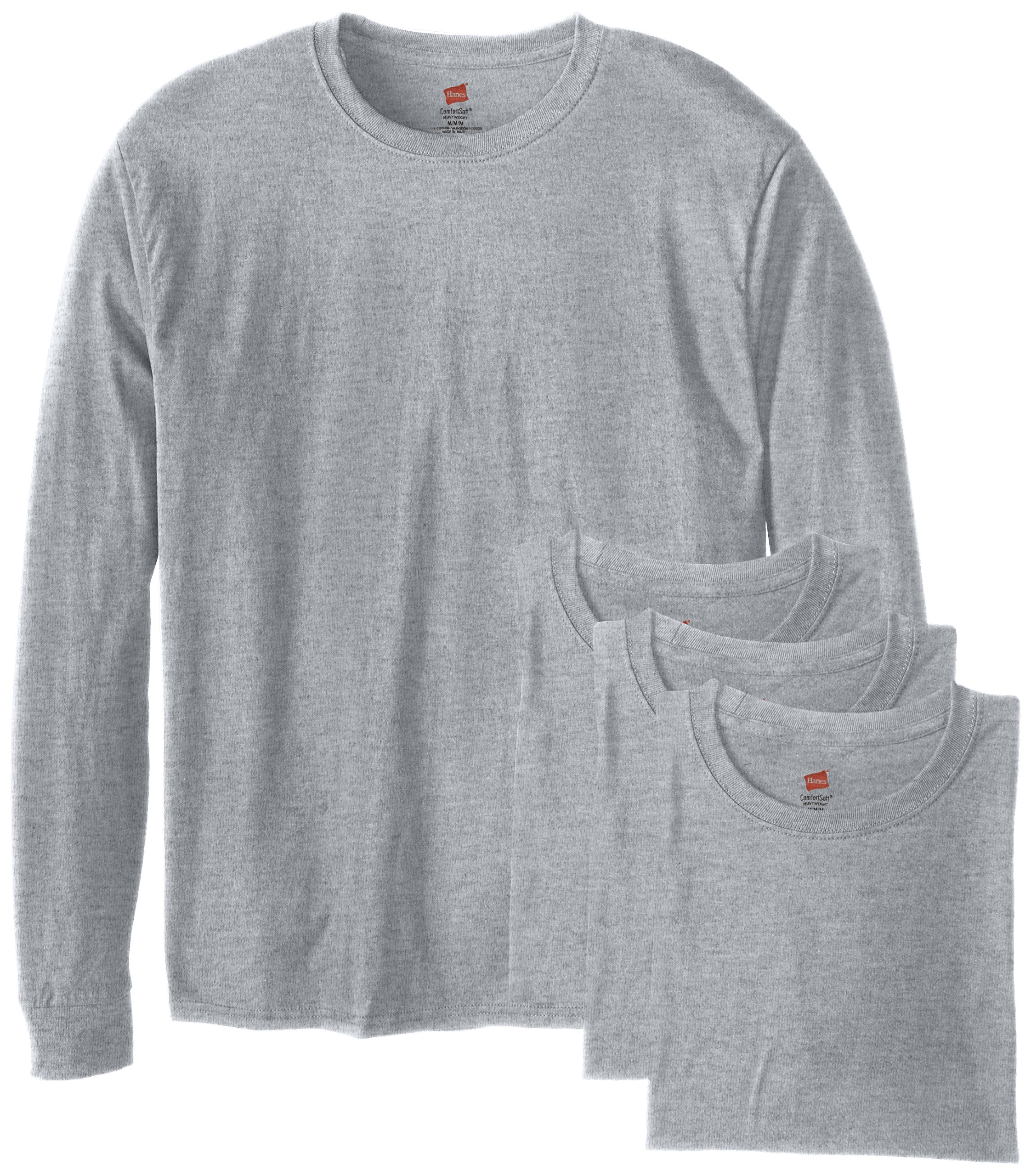 Hanes Men's 4 Pack Long Sleeve Comfortsoft T-Shirt, Light ST-Shirtl, Large