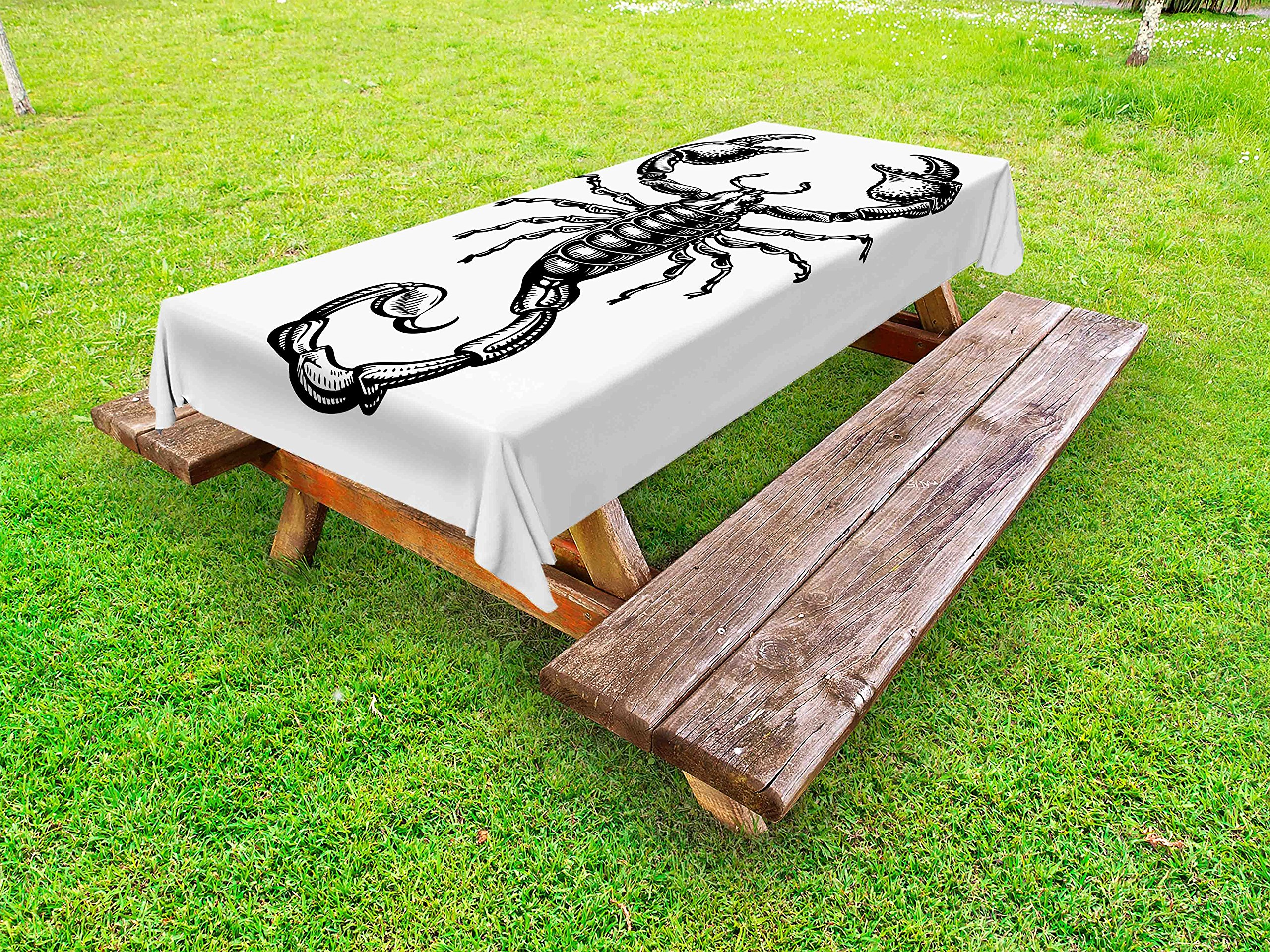 Ambesonne Zodiac Scorpio Outdoor Tablecloth, Monochrome Sign Sketch of a Scorpion Tattoo Animal Horoscopes Theme, Decorative Washable Picnic Table Cloth, 58 X 120 Inches, Charcoal Grey White
