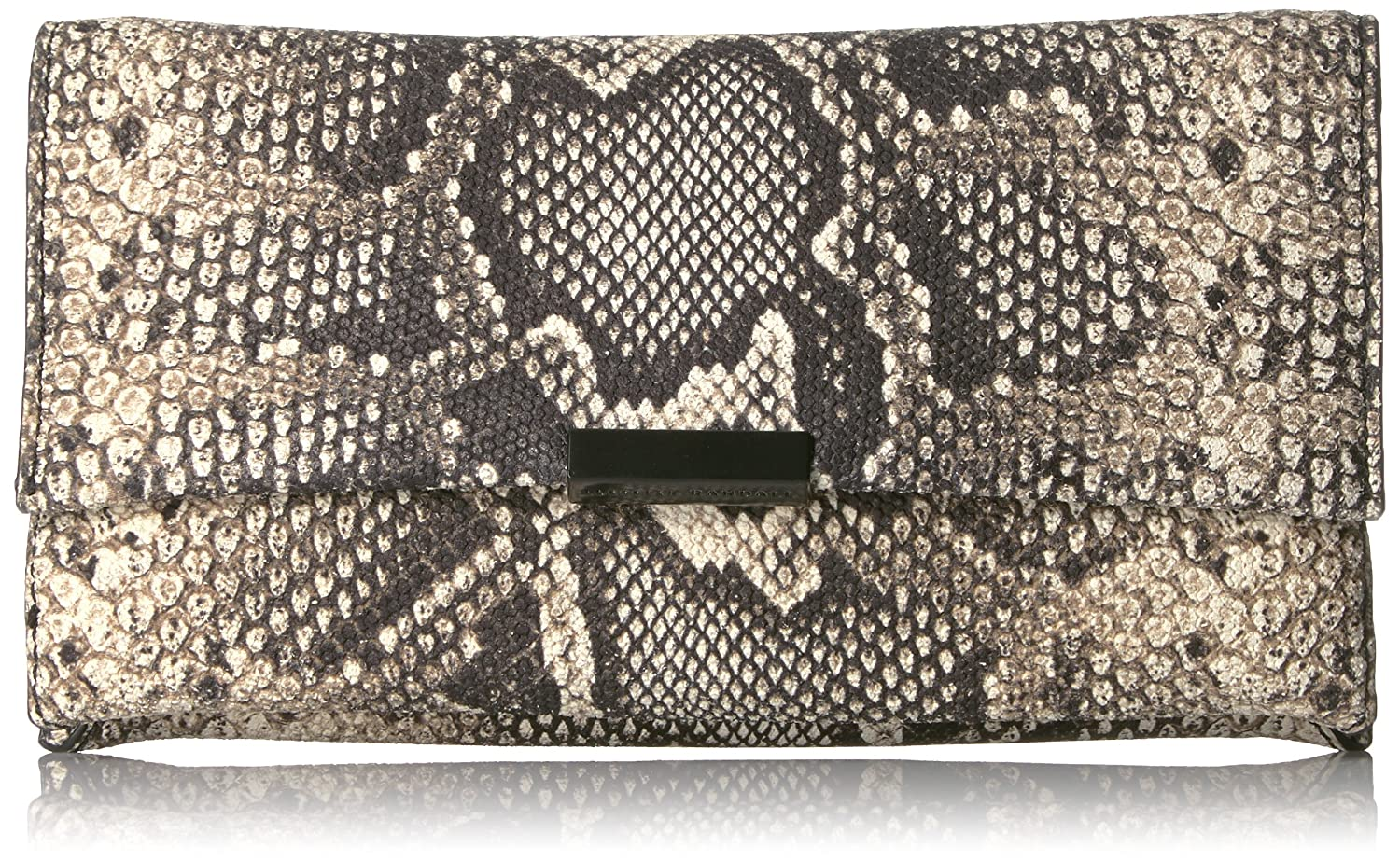 LOEFFLER RANDALL Tab Python Embossed Leather Clutch Graphite TABCLTCH-EBS