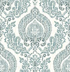 NuWallpaper NU1702 Kensington Damask Blue Peel & Stick Wallpaper