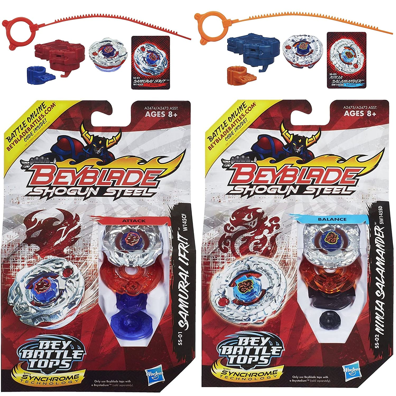 Beyblade Shogun Steel Samurai Ifrit W145CF SS-01 Top & Ninja Salamander SW145SD SS-02 N Top Bundle Hasbro