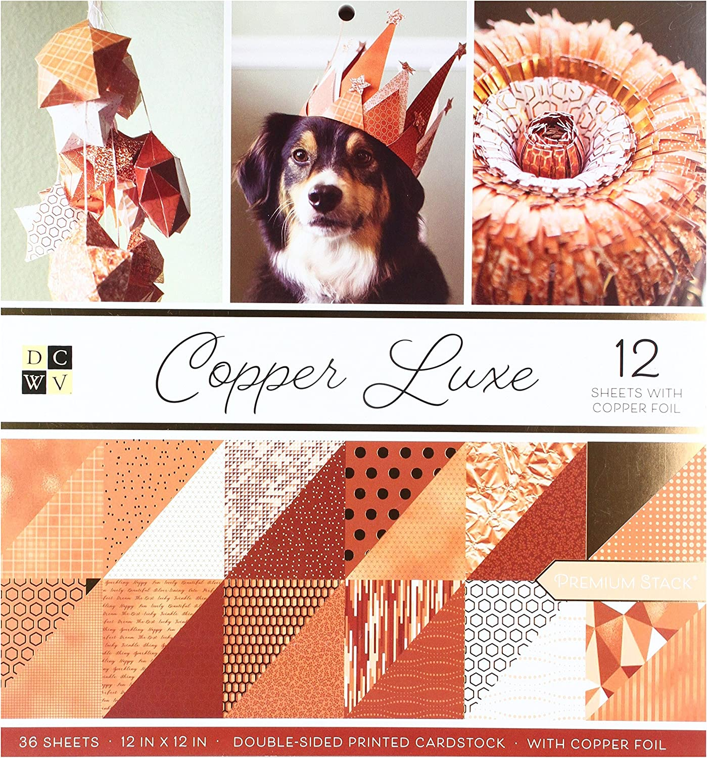 American Crafts Card Stock 12X12 Copper Luxe Premium Printed Cardstock Stack