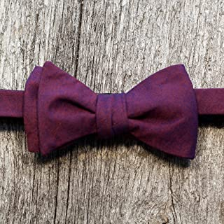 product image for Purple and Tangerine Cotton Woven Bow Tie
