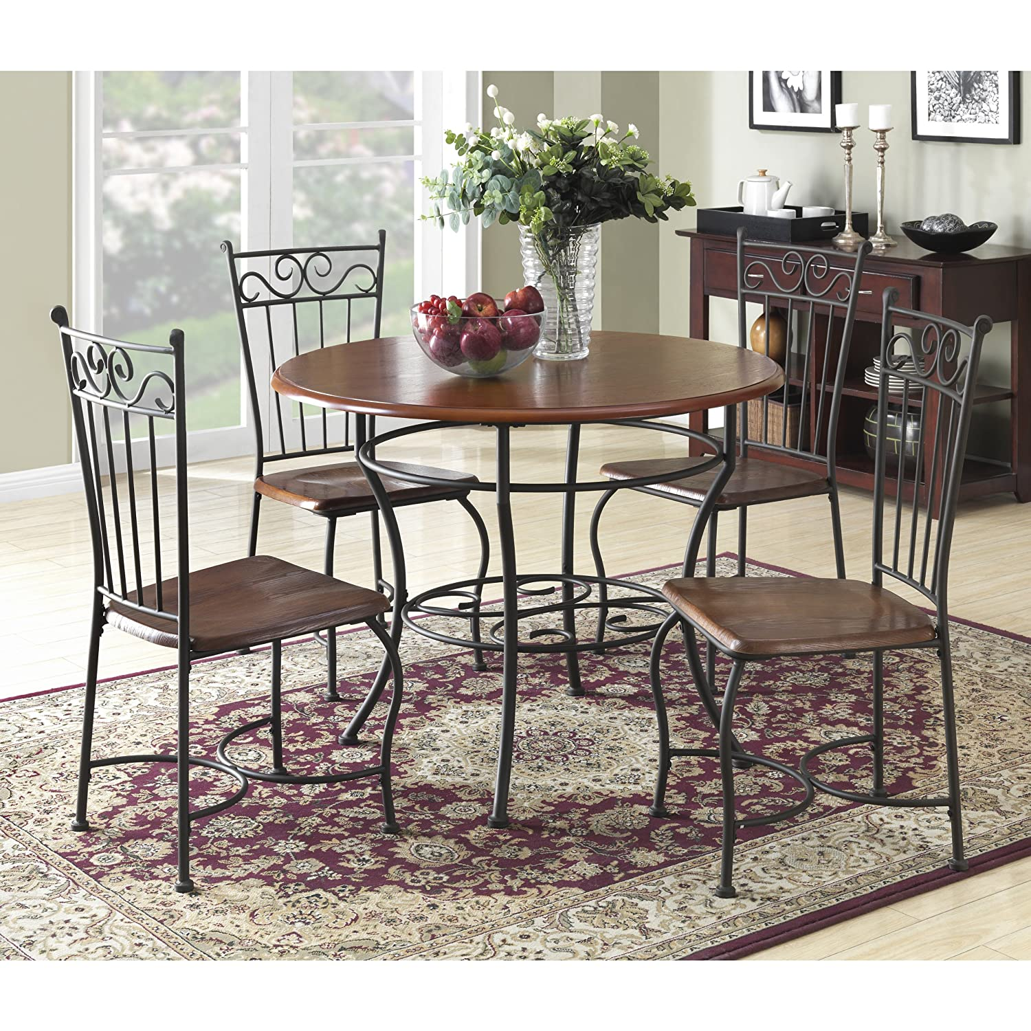 Amazon.com: Dorel Living 5 Piece Wood And Metal Cafe Style Dinette Set For  Kitchen Or Living Room: Kitchen U0026 Dining