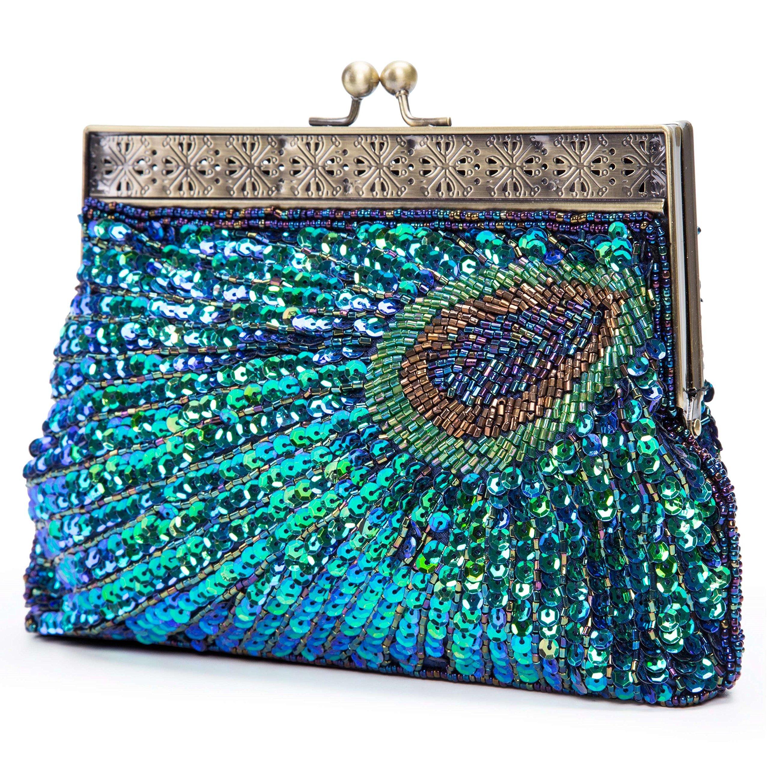 Lifewish Women's Unique Luxury Sequins Beaded Evening Bag Wedding Bridal Party Prom Clutch tote Handbag (Blue)