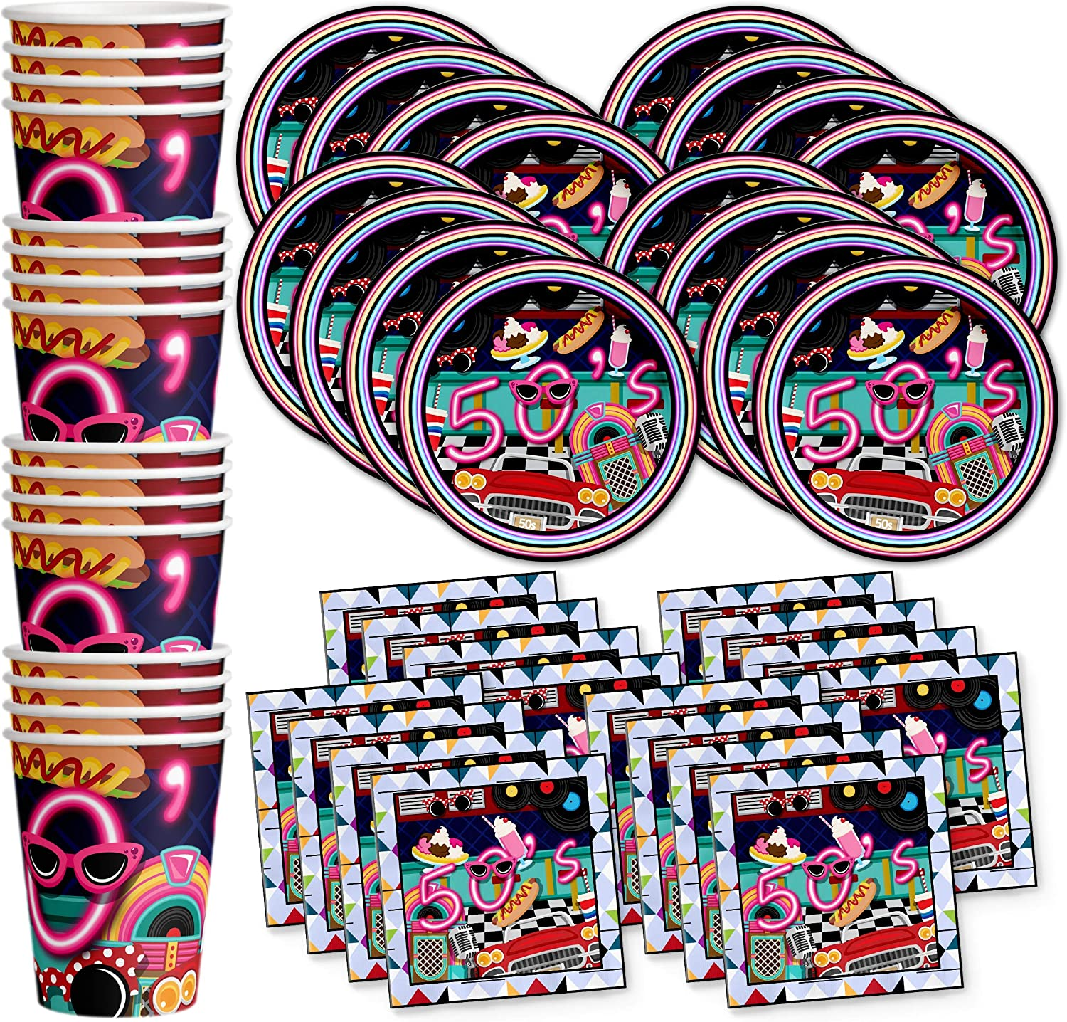 50's Diner Birthday Party Supplies Set Plates Napkins Cups Tableware Kit for 16