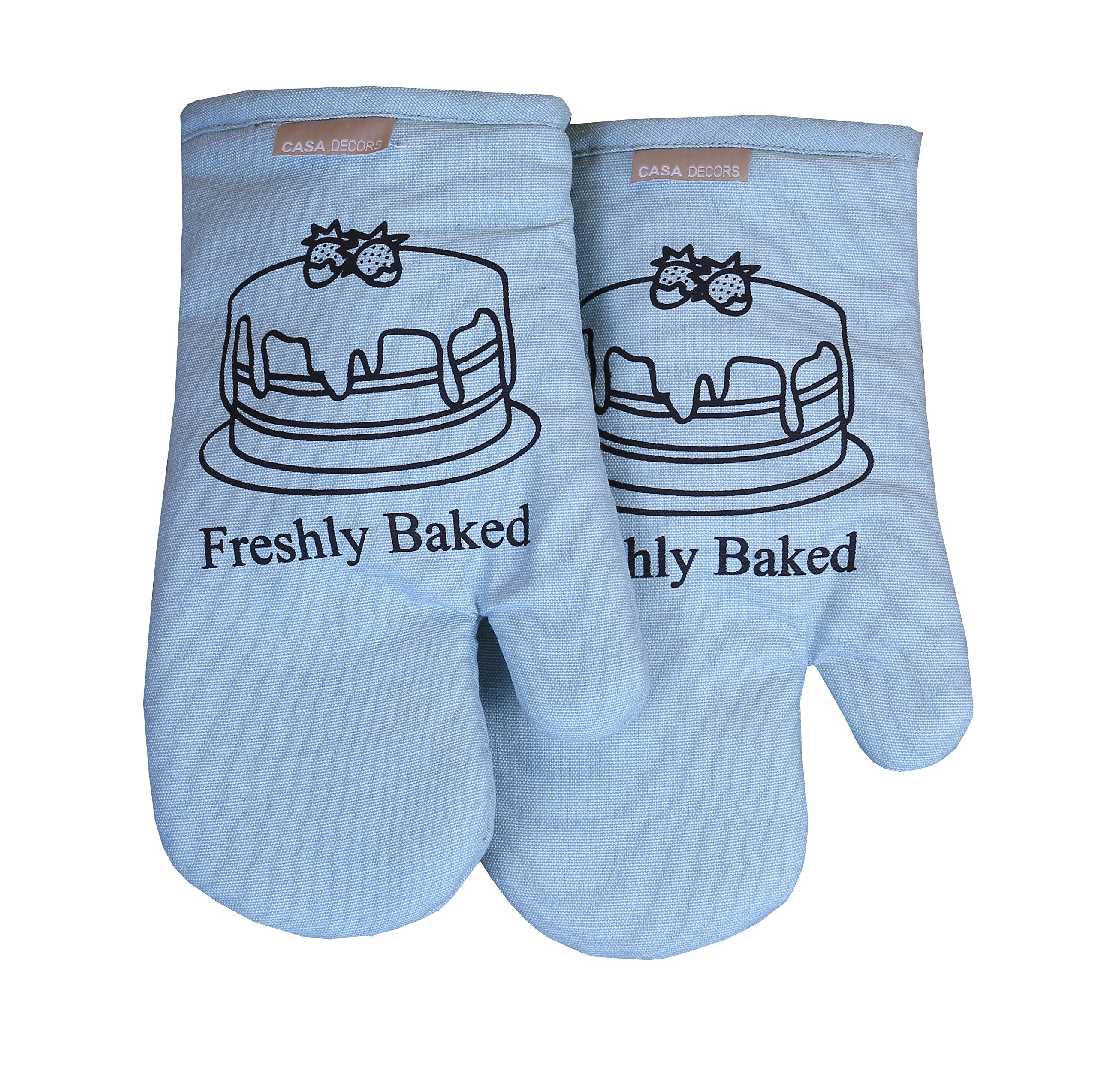 Oven Mitts, Baking Fun Design, Oven Mitts Heat Resistant, Made of 100% Cotton, Eco-Friendly & Safe, Set of 2, Oven Mitt size 7 x 13 Inches, Machine Washable, Kitchen Oven Mitts By CASA DECORS