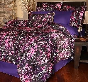 Carstens Muddy Girl Camo 3 Piece Comforter Bedding Set, Twin