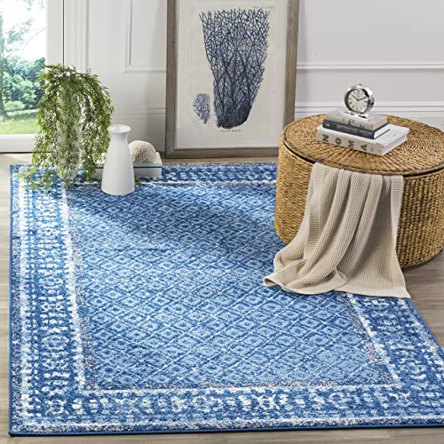 Safavieh Adirondack Collection ADR110F Light Blue and Dark Blue Vintage Distressed Area Rug 3 x 5