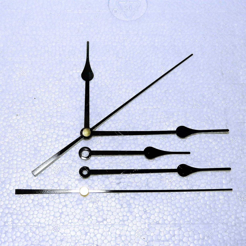 Lancette di ricambio per orologio, nere in metallo per movimenti al quarzo, 24-130 mm, montaggio a pressione, per riparazionifai da te, metallo, Nero , 48mm Black Spade Clock Spare Parts