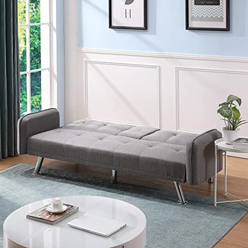 Simple Folding Sofa Bed Upholstered 75 Inch Sofa Living Room Couch for Living Room Furniture Armechair Couches Light Gray